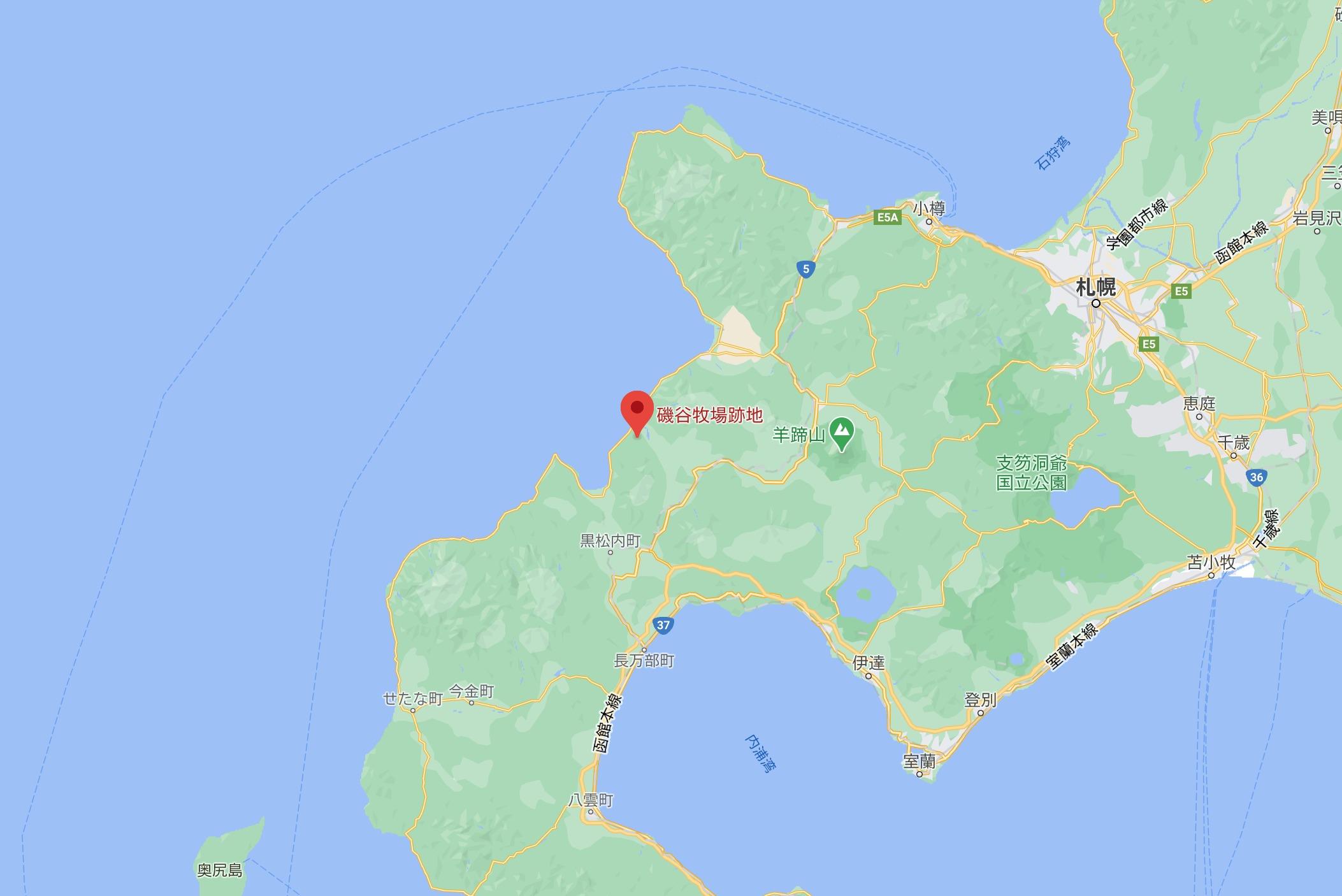 磯谷牧場跡地MAP