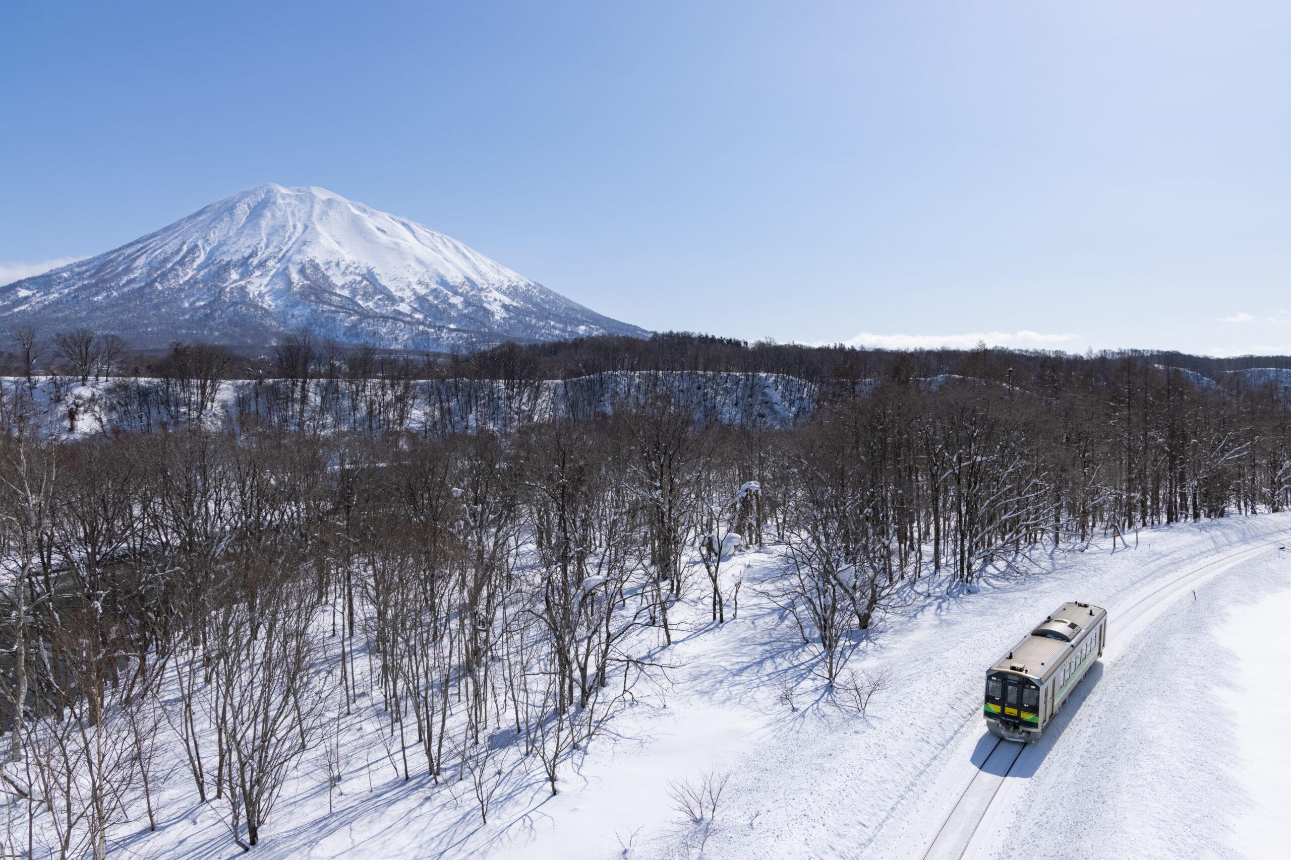 電車と羊蹄山
